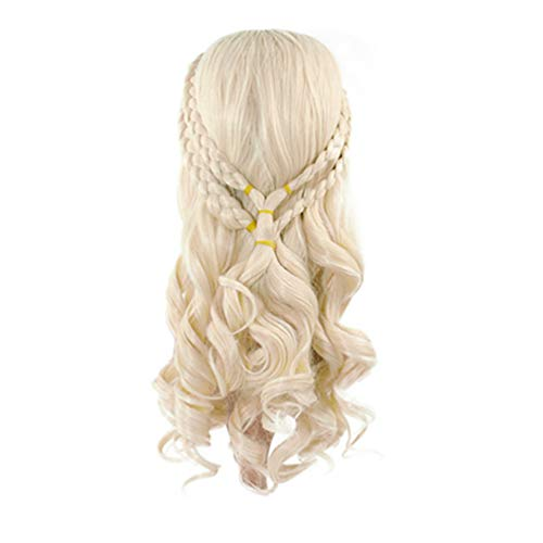 Glameow Fluffy Cosplay Wig Blonde Curly Wig Long Wig Hair Curly Wave braided Hairs for Women Halloween Party -