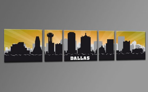 XXL WALLART USA Panorama CITY SKYLINE Dallas ORANGE RETRO CANVAS 5 PANELS Ready to Hang Framed Wall Art Decor Hand-made with Passion, Cheaper than Oil painting Wallprint Giclee USP500456