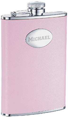 Personalized 8oz. Visol Daydream Pink Leather Liquor Flask with Free Laser Engraving ()