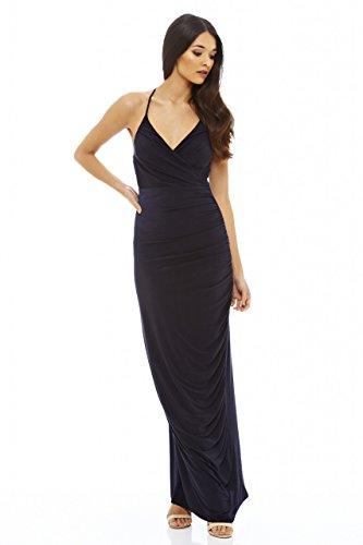 AxParis AX Paris Women's Ruched Slinky Maxi Dress(Navy, Size:10)