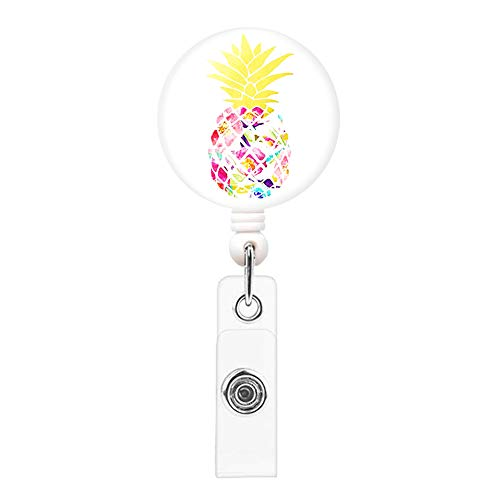 Retractable Badge Reel Knocent Badge Holder with Alligator Clip,Cute Carabiner Reel Clip On ID Card Holders (Pineapple)