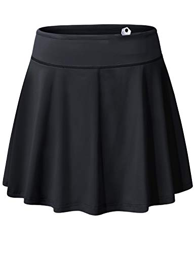 Blevonh Black Tennis Skirt,Lady Comfortable Drawstring Tie Two Layers Golf Skorts for Women Plus Size Flowy Swing Hem Aline Loose Side Pocket Sports Clothing Fit Daughter Gifts XL