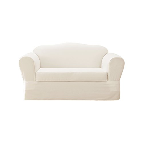Astonishing Surefit Sure Fit Cotton Twill Separate Seat Loveseat Slipcover White Gamerscity Chair Design For Home Gamerscityorg