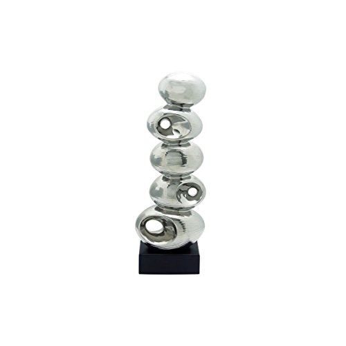 [Stacked Stones Abstract Porcelain Sculpture Polished Silver Finish] (Poseidon Greek God Costume)