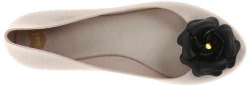 mel Dreamed by melissa Women's Pop V Ballet Flat,Beige Flower,7 M US