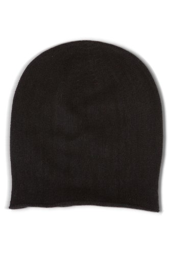 Fishers Finery 100% Pure Cashmere Beanie - Black (Cashmere Hat)