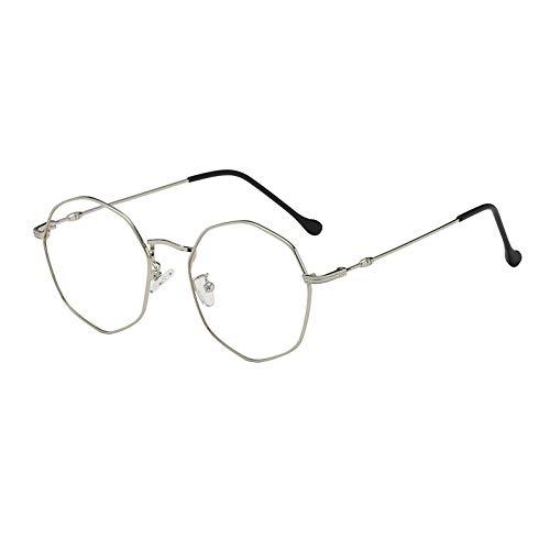 Sunglasses Light Silver Frame - XIKEXIKE Glasses Frame Anti-Blue Light Irregular Polygon Glasses Frame Ultra Light Myopia Glasses Frame,Silver