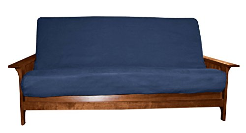 Better Fit Machine Washable Upholstery Grade Futon Cover , Full 8-inch Loft-size, Microfiber Suede Dark Blue - Futon Cover Soft Suede