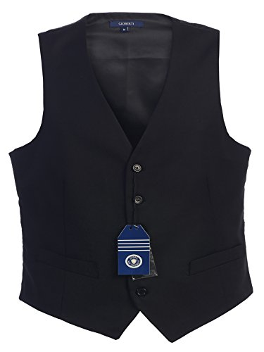Gioberti Mens 5 Button Formal Suit Vest, Black, (Wear Suit Vest)