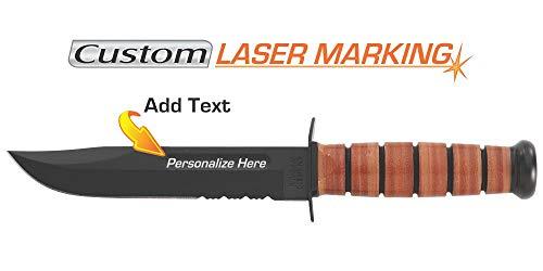 (Custom Laser Engraved Ka-Bar USMC Knife Serrated Edge 1218)