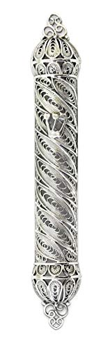 Nadav Art Small sterling silver Mezuzah Case with kosher scroll size 2.35 handmade filigree design features the Hebrew letter