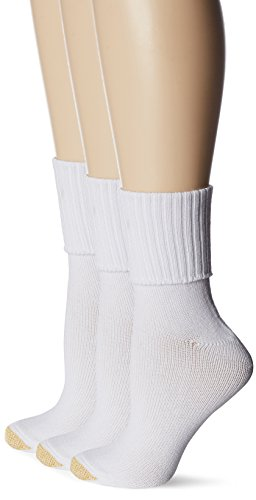 Gold Toe Women's Plus-Size 3 Pair Pack Bermuda Socks, White, One Size