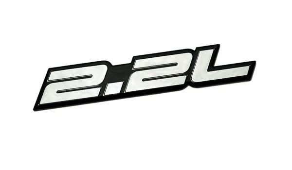 2.2L Liter Embossed SILVER on Black Highly Polished Silver Real Aluminum Auto Emblem Badge Nameplate for Honda Accord LX EX DX Prelude H22 S2000 F22C S ...