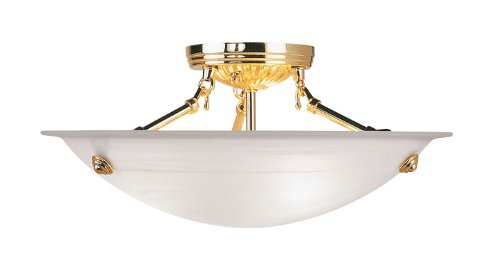 Livex Lighting 4273-02 Flush Mount with White Alabaster Glass Shades, Polished Brass Brass Alabaster White Glass