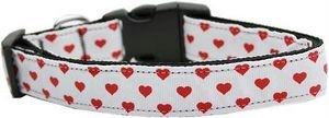 Dog Collars Dotted Ribbon (Mirage Pet Products 125-163 LG White and Red Dotty Hearts Nylon Dog Collar, Large)