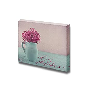 Canvas Prints Wall Art - Pink Dried Baby's Breath Flowers in a Blue Jug on Wooden Background - 32