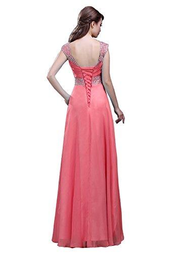 Chiffon lange Damen Abendkleid Korallrot formale Wulstige Kmformals Flügelärmeln qwgIHH