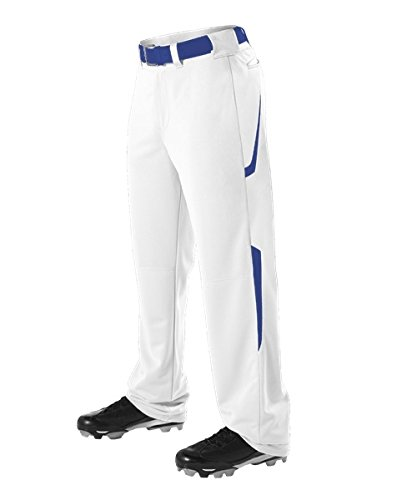 Alleson Adult Relaxed Fit - 2 Color Open Bottom Baseball Pants - White/Navy - Large ()