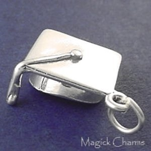 925 Sterling Silver 3-D Graduation Cap Charm School Student Graduate Jewelry Making Supply, Pendant, Charms, Bracelet, DIY Crafting by Wholesale Charms