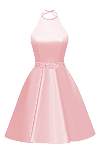 Halter A-line Beaded Satin Short Plus Size Evening Party Dress Formal Ball Gown with Pockets Size 20 Pink