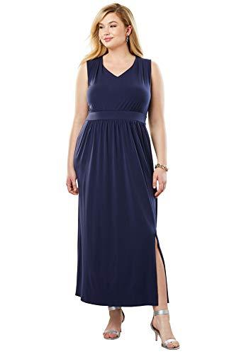 (Jessica London Women's Plus Size Travel Knit V-Neck Maxi Dress - Navy, 22 W)