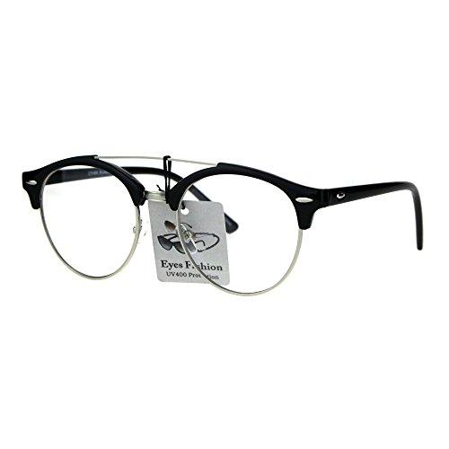 Mens Retro Hipster Half Horn Rim Clear Lens Eyeglasses Black - Glasses For Men Geeky