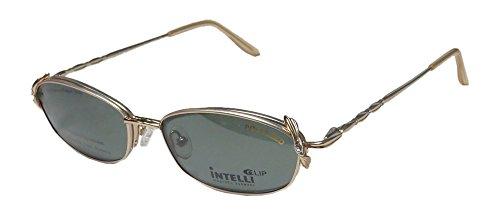 Elite Eyewear Intelli Clip 716 Womens/Ladies Designer Half-rim Sunglass Lens Clip-Ons Strass Flexible Hinges Eyeglasses/Eye Glasses (53-17-135, Gold) by Elite Eyewear