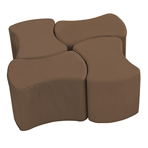 Modular Chocolate (ECR4Kids SoftZone Butterfly Stool Modular Seating Set for Kids, Chocolate(4-Piece))