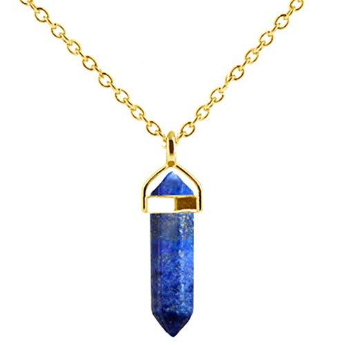 - Venta Caliente Hexagonal columna collares de cuarzo colgantes de Piedra Natural bala Collar de Cristal para la joyería de las Mujeres,F