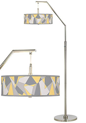 Modern Arc Floor Lamp Brushed Nickel Mosaic II Pattern Giclee Drum Shade for Living Room Reading Bedroom Office - Giclee - Lamp Floor Giclee Nickel