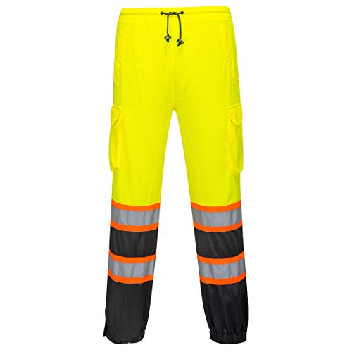 (Portwest Two-Tone Mesh Over Pants Hi Visibility Cargo Work Trousers Safety Wear ANSI E, LXL)