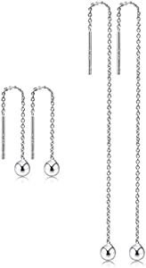 Sweepstakes: CAT EYE JEWELS Threader Earrings 925 Sterling Silver Platinum...