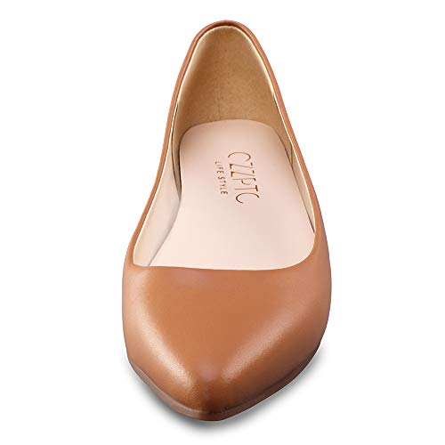 CZZPTC Leather Women's Flat Shoes Classic Casual Pointed Toe Ballet Flats Shoes for Women