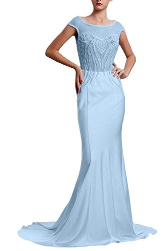Tuell Promkleider Damen Ballkleider mit Partykleider Blau Abendkleider Applikationen Elegant Lang Kurzarm Ivydressing gxfXSnS
