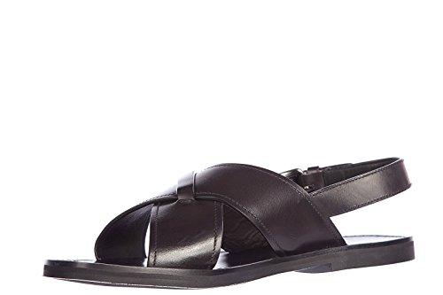 Prada sandales pour homme en cuir deco veau noir