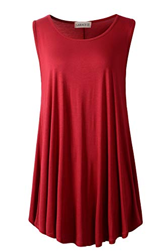 LARACE Women Solid Sleeveless Tunic for Leggings Swing Flare Tank Tops (5X, Wine Red)
