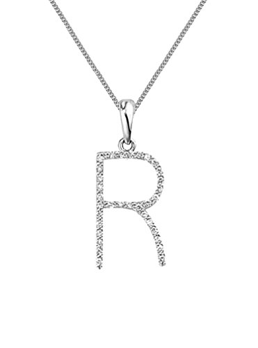 "Or blanc 18ct. Diamant Pendentif initiale ""R & Or Blanc 18carats Chaîne, collier: 40,6cm/40cm -- 45,7cm/45cm -- 50,8cm/50cm"