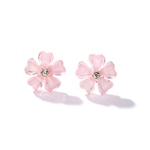 Set Ladybug Capri Outfit (Muranba Lovely Flower Crystal Pendant Circle Stud Earrings (Pink))