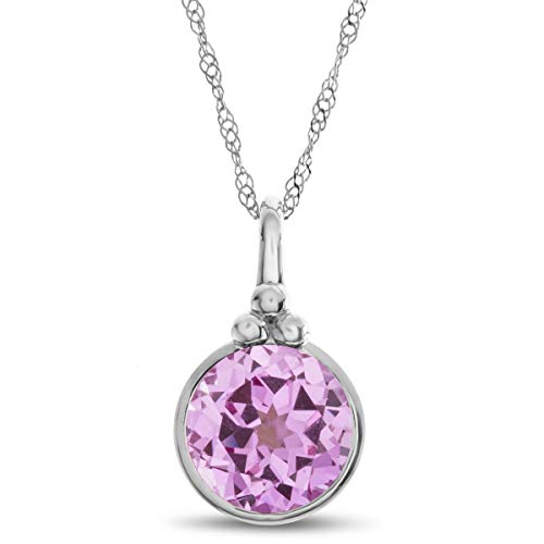 Finejewelers 8mm Round Bezel Set Created Pink Sapphire Pendant Necklace Chain Included 10 kt White Gold
