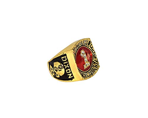 UNIVERSITY OF OKLAHOMA SOONERS (Rickey Dixon) 1985 NATIONAL CHAMPIONS Vintage Rare Collectible Replica Gold Football Championship Ring with Cherrywood Display Box