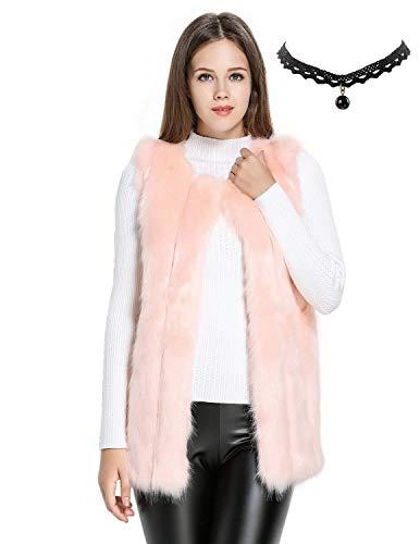 Fiesta Mangas Sin Largos Rosa Mujer Elegante Chaleco de Sintética Invierno Pelo Abrigo de Semia IPwqRxtTP