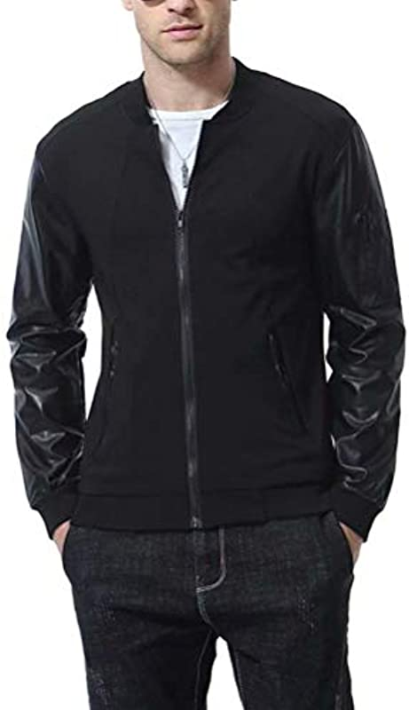 AOWOFS kurtka męska ze stÓjką, regular fit, przejściowa, bez kaptura, z bawełny - bluza l: Odzież