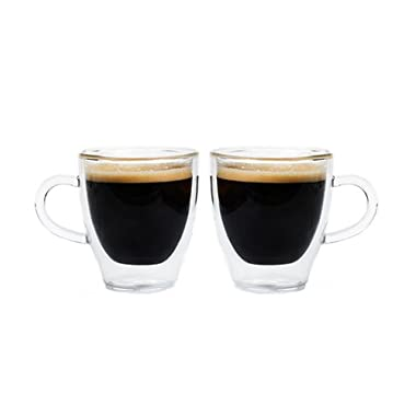 Grosche Turin Double Walled Hand Blown Glass Espresso Cups 140ml 4.7 Oz. Set of 2