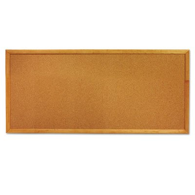 Classic Slim Line Cork Bulletin Board, 12 x 36, Oak Finish Frame, Sold as 1 Each QUARTET MFG.