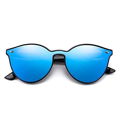 Premium Borde Hombre Azul de Plano Mujer Redondo Cuerno Espejo Sol de Moda Negro Gafas Sombra Espejo AwUAHr
