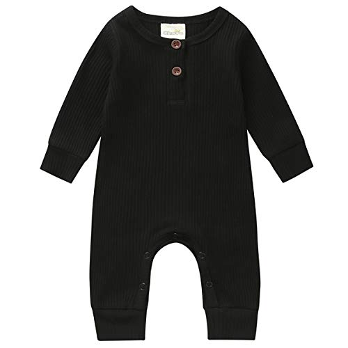 Kuriozud Newborn Infant Unisex Baby Boy Girl Sleeveless Button Solid Knitted Romper Bodysuit One Piece Jumpsuit Summer Outfits Clothes (Long Sleeve one Piece Black, 6-9 Months)