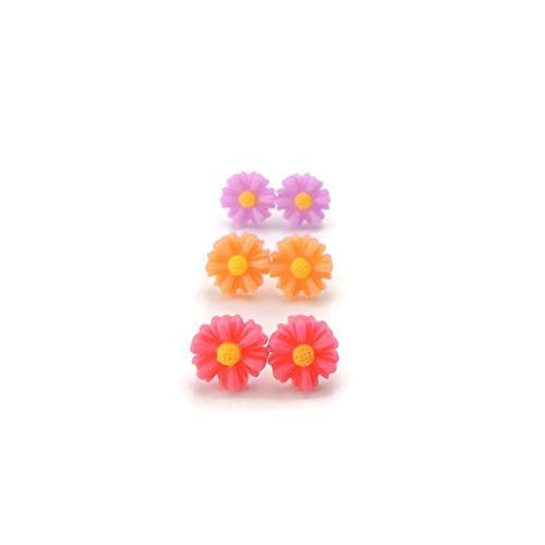 Invisible Clip On Dainty Daisy Earrings for Non-Pierced Ears Trio Gift Set ()