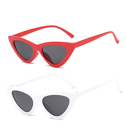 YOSHYA Retro Vintage Narrow Cat Eye Sunglasses for Women Clout Goggles Plastic Frame (Red Grey + White Grey)