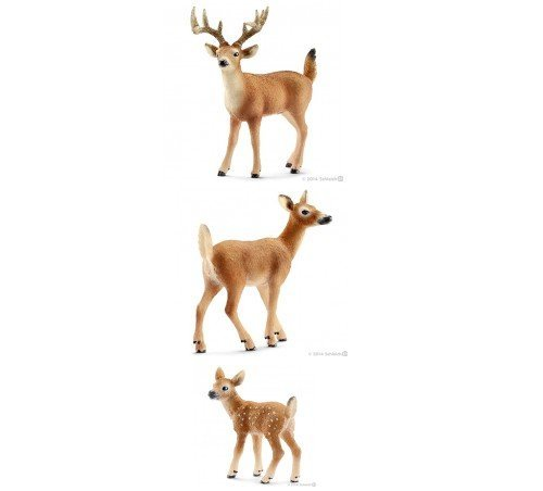 Schleich Realistic Wildlife Set of 3 Deer, Male (14709), Female (14710) and Calf (14711) Bagged Together Ready to Give Animals