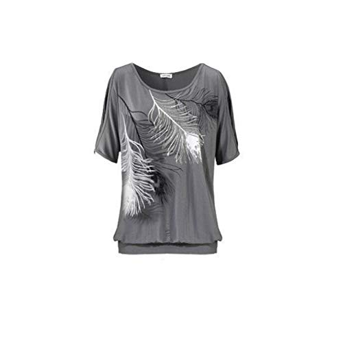 - Sexy Strapless Feather Printed Short-Sleeved T-Shirt Solid Color Shoulder Top Women Tops